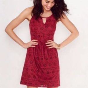 Lauren Conrad faux suede burgundy dress
